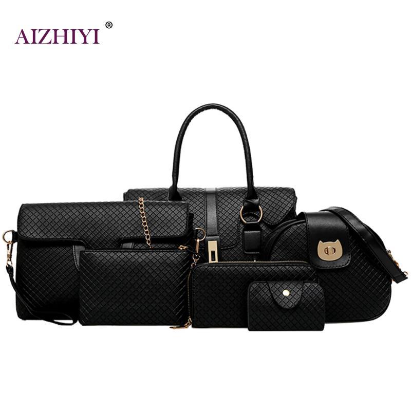 Women Embossed Rhombus Handbag Set 6pcs Patchwork Composite Bags Diamond Lattice Female Shoulder Bags Casual Tote Walle Handbags<br>