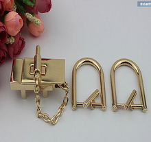 Shallow rectangular golden chain lock handbags hardware accessories kit lock latch twist lock decorative lock + free shipping(China)