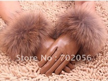 Fox fur lambskin Gloves skin gloves LEATHER GLOVES Warm Fashion #2420