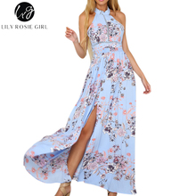 Buy Lily Rosie Girl Blue Boho Floral Print Sexy Dress Women Halter Backless Shoulder Summer Beach Maxi Long Dresses Vestidos