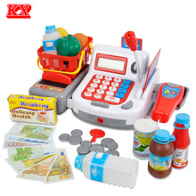 Kids Supermarket Cash Register Electronic Toys with Foods Basket Money Children Learning Education Pretend Play Set Red Pink D50(China)