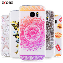 EKONE Phone case for samsung galaxy s7 s7 edge s6 s6 edge s8 Silicon Lady Girl Back Cover for samsung galaxy s6 case mandala(China)