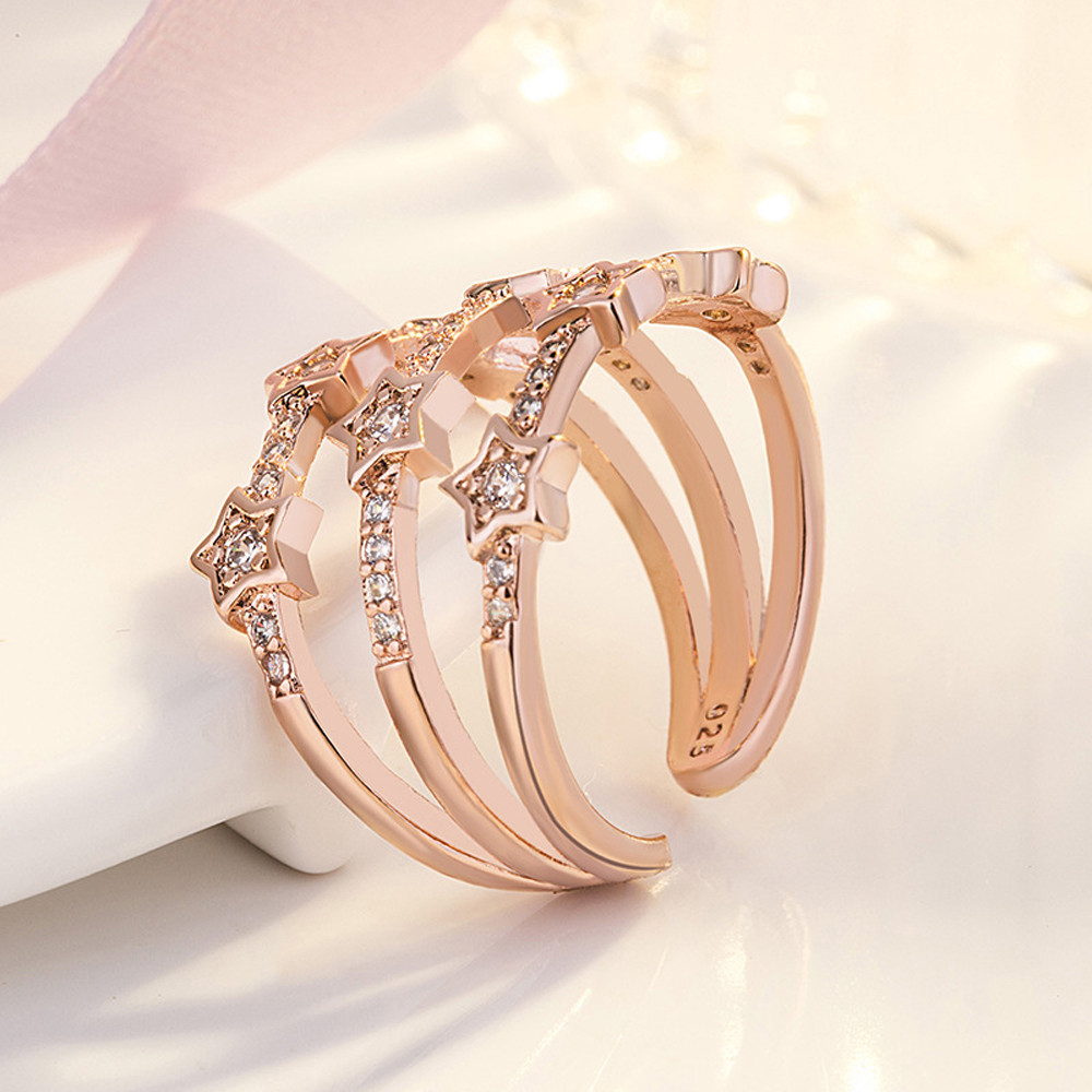 1PC Silver Rose Gold Color Delicate Hollow Ring Cubic Zircon Star Adjustable Opening Finger Rings for Women Wedding Jewelry Gift pre-engagement ring