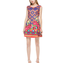 2017 New Style Summer Women Girls Flower Printing Sleeveless Slim Summer Round Neck Short Dress 4 size Blue Orange(China)