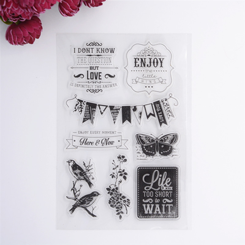 2016 New Scrapbook DIY Photo Album Cards Transparent Acrylic Silicone Rubber Clear Stamps Sheet  enjoy<br><br>Aliexpress