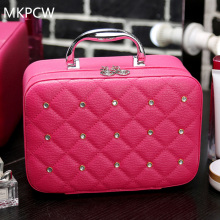 2017 Luxury Women Bling Cosmetic Case Rivet Rhinestone Makeup Box Professional Tote Cosmetic Bag Beauty Case for Beignners(China)