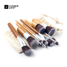 11 Pcs Bamboo Handle Makeup Brushes Set Pro Blush Eyebrow Eyeliner Eyeshadow Foundation Brush Cosmetic Tool Kit With Bag