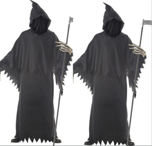 Adult Man Halloween Hooded Skeleton Grim Reaper Ghost Costume Joker Catsuit Black Evil Death Scary Cosplay Outfit