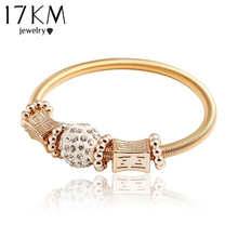 17KM Charm Gold Color Rock Weaving Alloy Zircon Elastic Pulseiras Feminina Charm Bracelets & Bangles For Women Fashion Jewelry