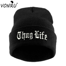 THUG LIFE Black Letter Beanie Unisex Fashion Hip Hop Mens Beanies Knitted Hats for Women Skullies Gorros Bonnets 1MZ0517
