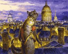 European home decorating wall art, cat lovers pictures, frameless oil paintings, digital DIY digital painting(China)