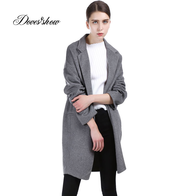 Vintage Women Gray Cape Cashmere Coat 2017 New Woolen Coat Women Winter Jacket Overcoat Female Outwear Casaco Feminino Trench