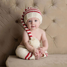 Baby Cute Newborn Photography Props Handmade Knit Infant Striped Beanie Hat And Pants For Boy Girl 0-6 Months(China)