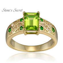 1.82ctw Manchurian Peridot Chrome Diopside & White Topaz 18k Gold Over Silver Ring for Women Fine Jewelry(China)