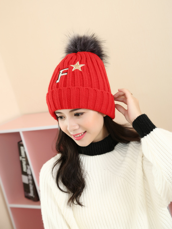 Women s wool hat autumn and winter new hat F five - star hair ball knit hat winter warmth thick hat Одежда и ак�е��уары<br><br><br>Aliexpress