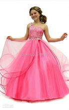 Little Girl Prom Dresses Girls Dresses Pageant Pink Size 14 Ball Gown Sweep Train With Straps Beaded Overlay