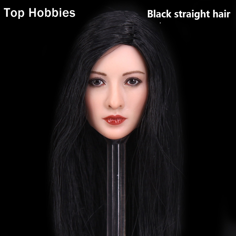 Black straight hair 1/6 Sexy Asian Beauty Star King sweet Liu Yan head sculpt for 12inch phicen jodoll LD UD Kumik action figure<br>