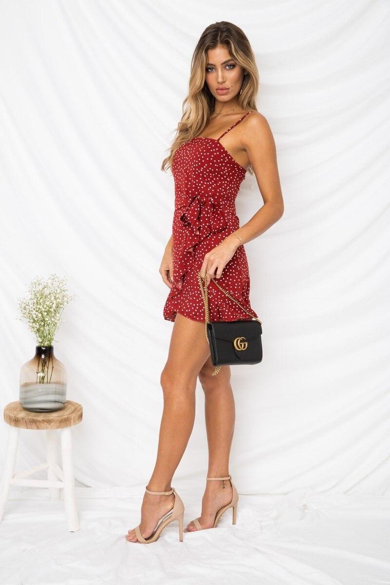 LOSSKY Women Print Beach Strap Ruffles Bodycon Dress Sleeveless Sexy Package Hip Mini Sling Dress Boho Dresses Summer 2018 New 13