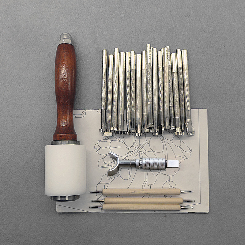 25Pcs/Set Leathercraft Tools Wooden Steel Leather Carved Hammer Printing Tool Sewing Handmade Kit Suit DIY Accessories -<br>