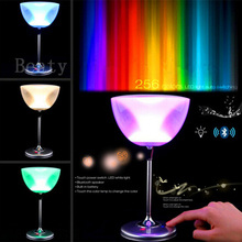 Unique Wine Glass Cup Design Bluetooth Speaker MP3/MP4 Player Intelligent Touch Control LED Lights With Alarm Clock(China)