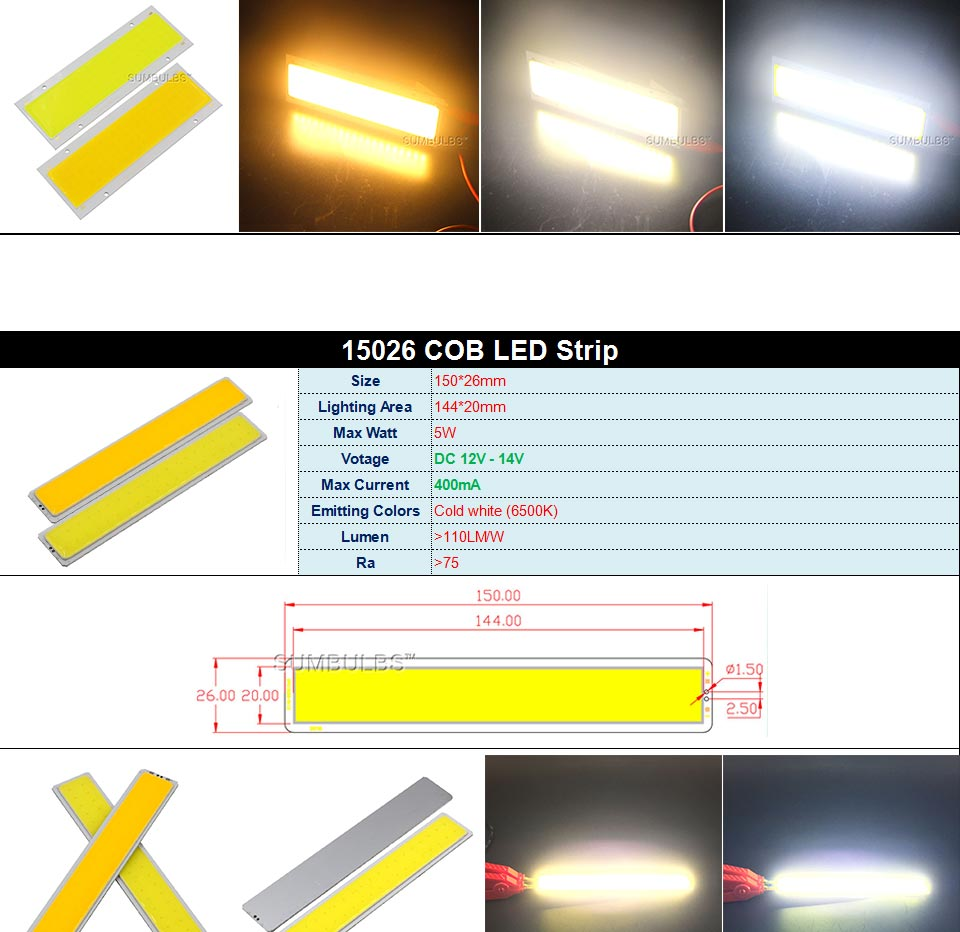 DC12V COB LED Strip Light Source 5W 10W 20W 50W 200W 300W LED Bulb White Blue Red Flip Chip COB Lamp DIY House Car Lighting 12V (9)
