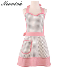 Neoviva Canvas Kids Apron Dress for Play The Kitchen Little Zoe Polka Dot White Children's Christmas New Year Girl Apron Cozinha(China)