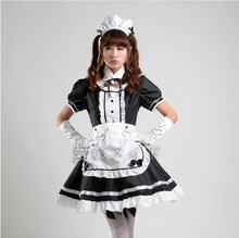 New 2017 Servant Women Cosplay Party Halloween Black Lolita Fancy Dress Adult Women Sissy Maid Uniform Sexy French Maid Costumes
