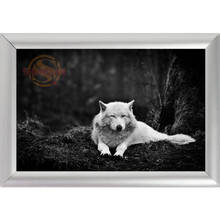Silver Color Aluminum Alloy Picture Frame Home Decor Custom Canvas Frame Animals Wolf Canvas Poster Frame F0112#177(China)