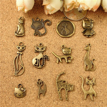 DIY animal-shaped jewelry accessories wholesale antique bronze alloy ornaments ancient cat hello kitty charms, kitten pendants