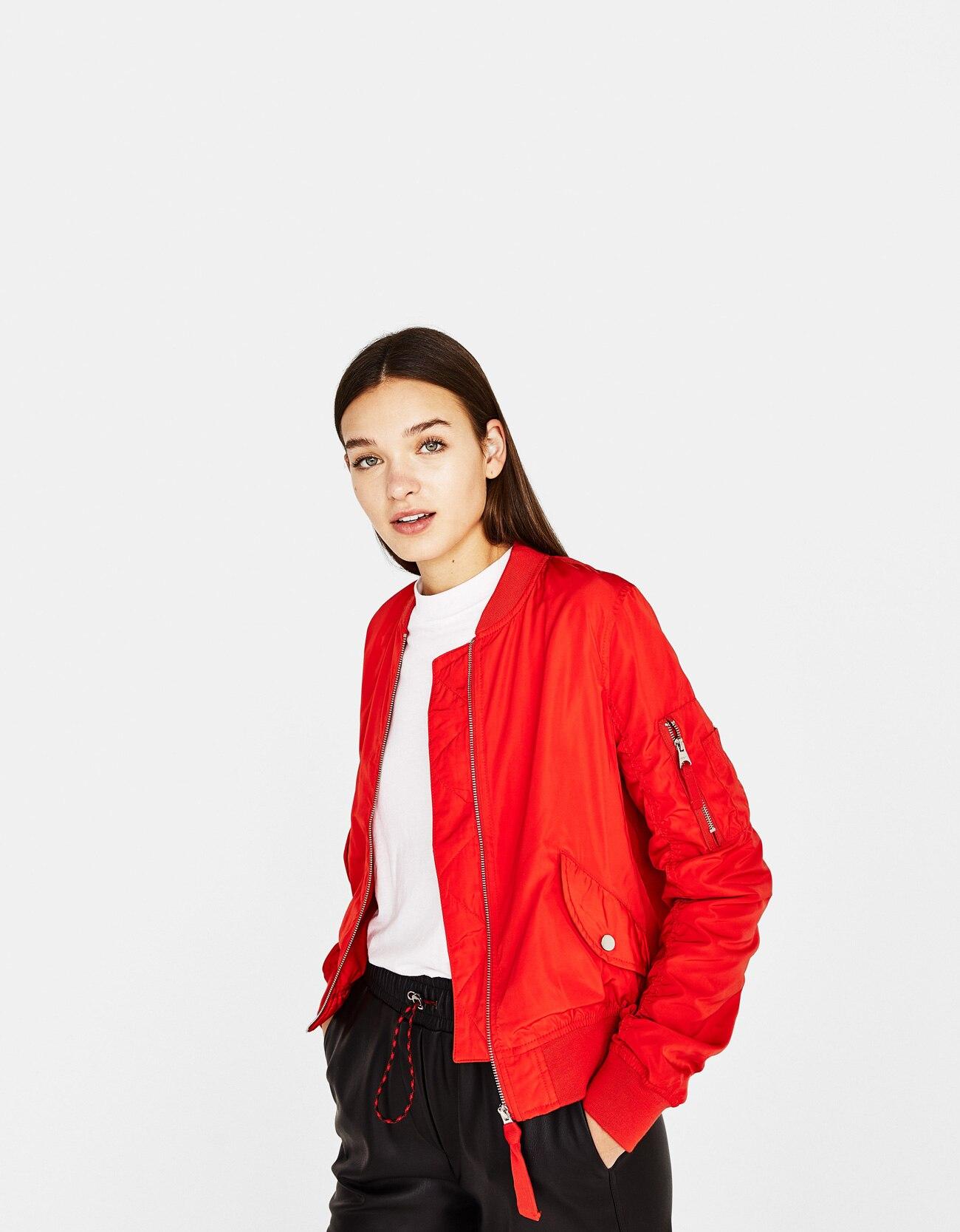 Short Red Bomber Jacket Coat Women Zipper Vintage Casual Streetwear ... 14f6996ac