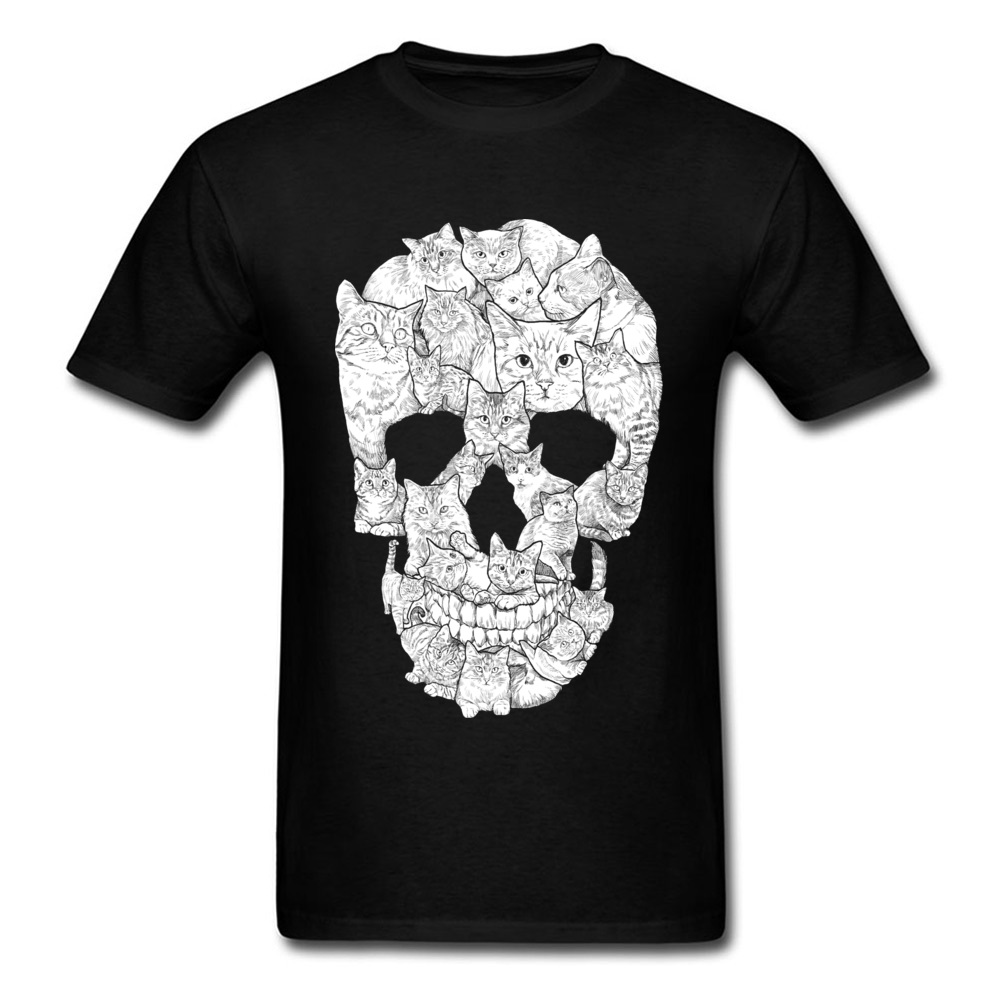 Sketchy Cat Skull Wholesale Short Sleeve Camisa T Shirt 100% Coon O-Neck Men T Shirt Casual Tee-Shirt Summer Autumn Sketchy Cat Skull black