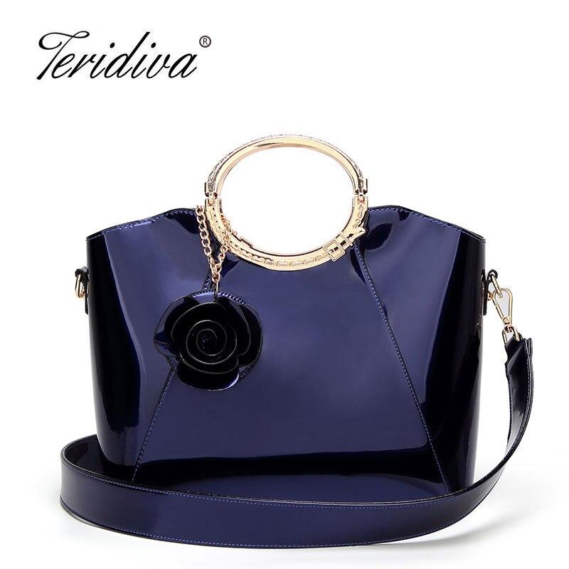 Teridiva Patent Leather Handbag Ladies Hand Bag Crocodile Women Black Handbags Shoulder Bag for Girls Tote Bags Bolso Mujer<br>
