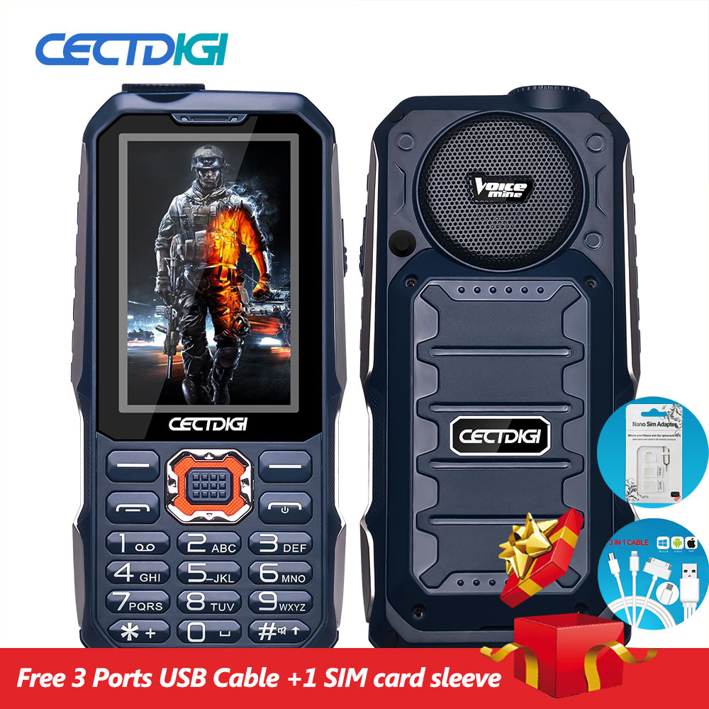 3 Sim Card Phone Cectdigi T19 3D Stereo Speaker outdoor Rugged Mobile Phone Power Bank Wireless FM 16:9 HD Russian Keypad phone(China (Mainland))