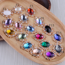 50pcs/lot 6 Colors Decorative buttons Metal Rhinestone buttons for craft Flatback Crystal buttons Horse eye gold buttons mix
