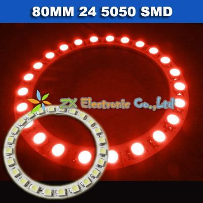 Bright White Blue Green Yellow Red  2x 80mm 24Leds SMD 5050 Led Car Angel Eyes Halo Ring Light 12V 1 pair front light headlights<br><br>Aliexpress
