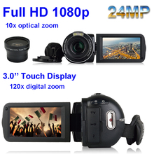 "3.0"" LCD Touch Screen 24MP Remote Control Video Camera 1080P Full HD Digital Camcorder Recorder DV Night-Shot 120X Digital Zoom"
