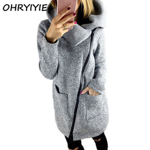 OHRYIYIE Plus Size 5XL Gray Cardigan Women 2017 Spring Autumn Zipper Sweater Women Long Sleeve Pocket Tricot Knitted Cardigan(China)