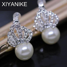 2015 New Fashion Unique Inlay Crystal Crown Queen Jewelry Earrings Fashion Pearl Ear Stud For Women XY-E980