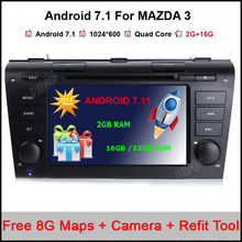 Android 7.1 Car DVD Player Fit Mazda 3 GPS Navigation 2Din Steering Wheel 1024*600 Quad Core 3G Radio WIFI Bluetooth TV(China)