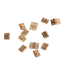 12pcs Cabinet Closet Mini Hinge for 1/12 Dollhouse Miniature Furniture Golden Pretend Play Furniture Toys Supplies Accessories