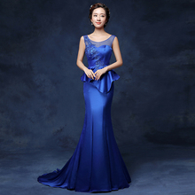 PotN'Patio 2016 New Sleeveless Ruffles Royal Blue Mermaid Evening Dresses With Train Long Satin Formal Evening Gown Dresses