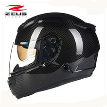ZEUS arbon fiber Motorcycle helmet 2 lenses Upscale full face motorcycle helmet easy clasp closure motorbike helmet DOT 1200E(China)