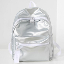 Fashion Leather Backpacks Women Silvery Glossy PU School Bag Girls Daily Use Shopping Backpack 2017 New Arrive