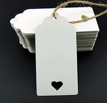 100Pcs/set DIY Kraft Paper Tags Brown Rectangle heart Label Luggage Wedding Note Blank price Hang tag