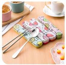 Korean Creative tinplate portable cutlery sets Stainless steel travel cutlery spoon chopsticks box