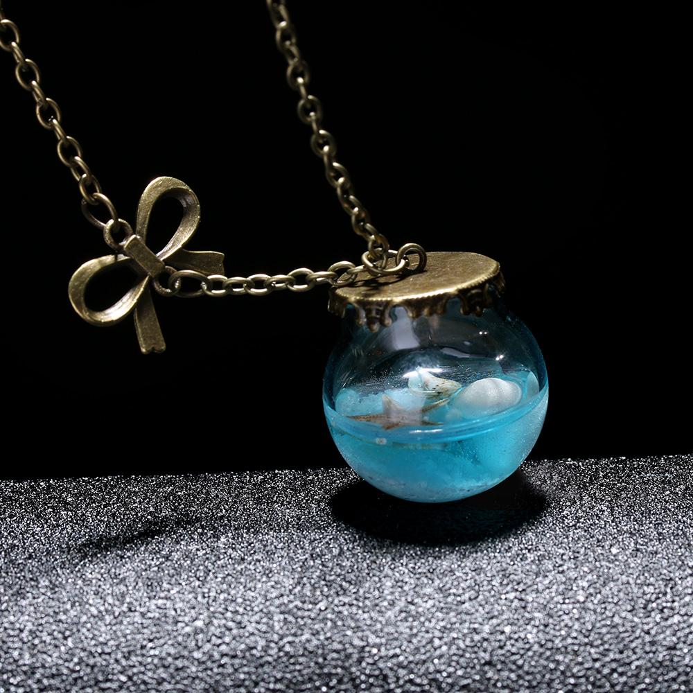 Mermaid Tear Drift Glass Bottle Pendant Necklace
