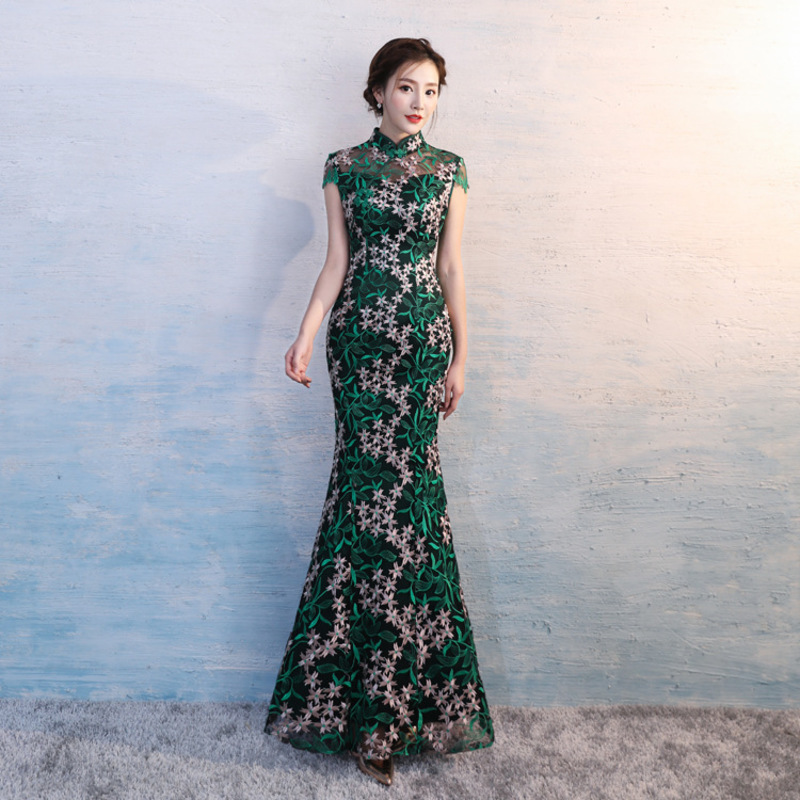 China Traditional Woman Wedding Cheongsam Modern Qipao Green Party Dresses Robe Chinoise Vestido Oriental Evening Dress