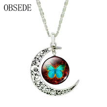 OBSEDE Glass Cabochon Necklace Silver Plated Chain Crescent Butterfly Pendant Vintage Long Necklace Women Jewelry For Women Gift