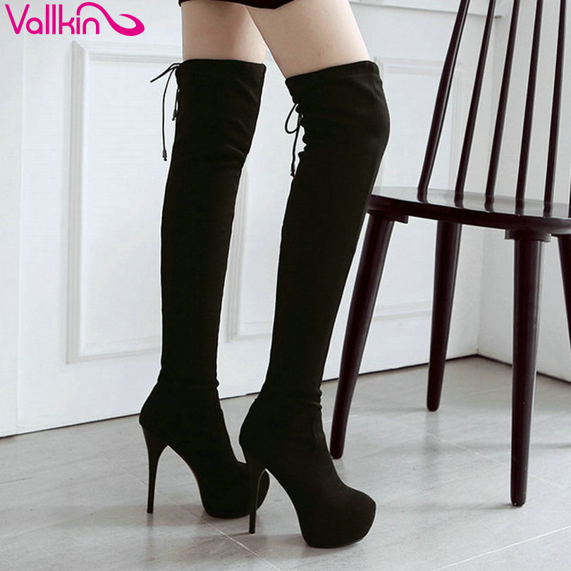 VALLKIN 2016 Western Long Boots Women Shoes Over The Knee Boots Lady Lace Up Thin High Heel Platform Boots Big Size 34-43<br>