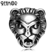 REAMOR 316l Stainless Steel Lion head 2mm Hole Size Beads Charms King of the Forest Spacer Beads for Bracelet Jewelry Making